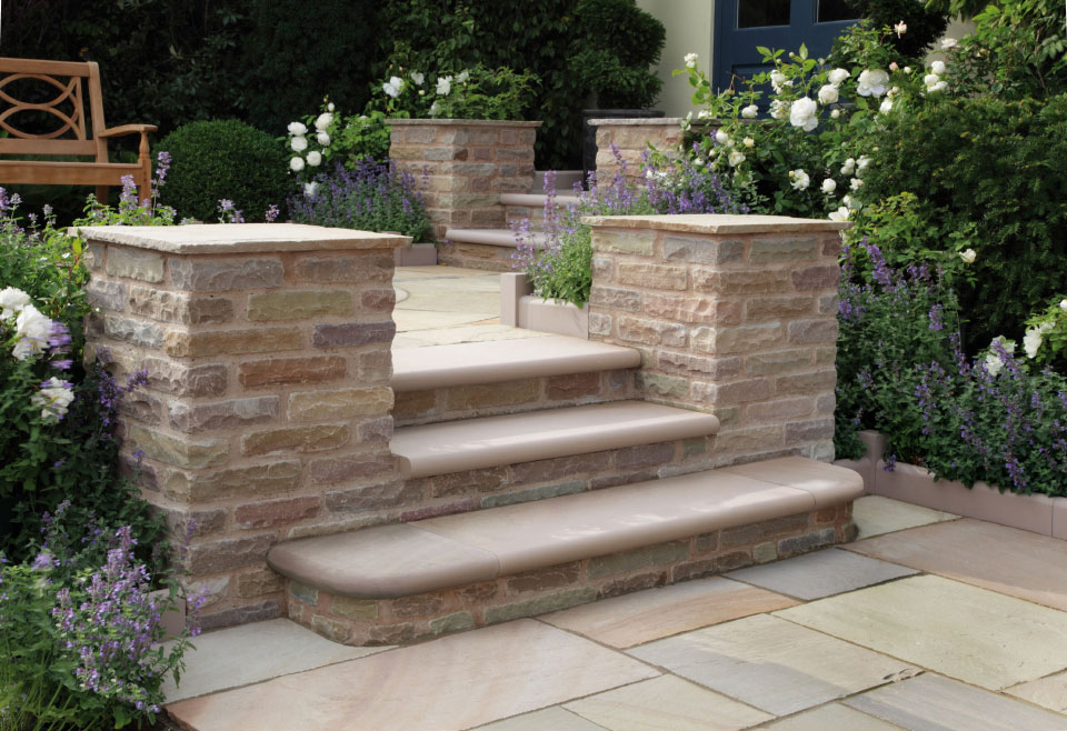 Trustone steps and edgings stonemarket for Pictures of garden steps designs