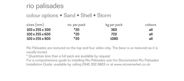 Rio Palisades Garden Walling Specification